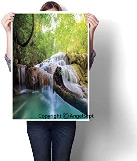 Light Green Turquoise Brown Modern Canvas Painting Wall Art,Landscape with Flowing Water of Erawan Cascade in Rain Forest(24