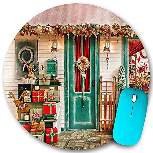 Round Mouse pad Non-Slip Rubber,Front Door Christmas Store Garland Wreath Xmas Tree Reindeer Sled Santa Retro Lantern New Year,Waterproof Durable Office Desktops Personality 7.9'x7.9'