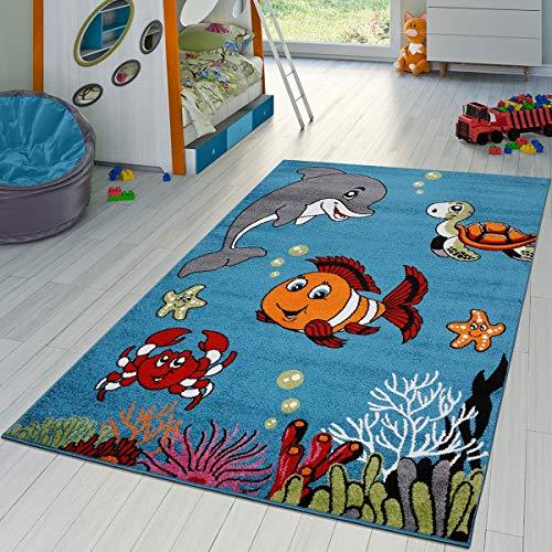 T&T Design Kinderzimmer Teppich Unterwasserwelt Kurzflor in Türkis Grau Grün Pink Blau, Größe:80x150 cm