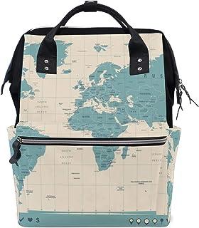 Colorido Mapa del mundo Patrón Gran capacidad Bolsas de pañales Mamá Mochila Múltiples funciones Bolso de