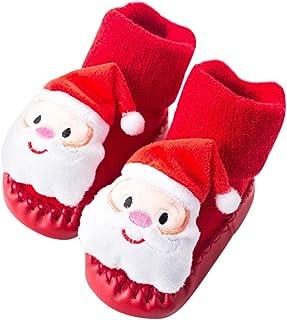 FENICAL, Navidad Zapatos de bebé Calcetines Antideslizantes Calcetines del Piso Zapatilla de Navidad para niños de Regalo