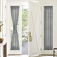 PONY DANCE Sidelight Panel Curtain - 30 Wide by 72 Long Dark Grey Linen Look Sheers Voile Door Window Blind for Metal Door Side Light French Front Entry Door, Single Piece