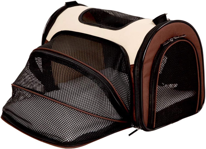 Pet backpack Pet Outing Bag cat Bag Dog Bag Folding Backpack Out Portable (color   Brown, Size   M)