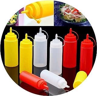 Plastic Squeeze Condiment Dispenser Tomato Sauce Salad Mustard Ketchup Cruet Storage Bottles,8Oz Red