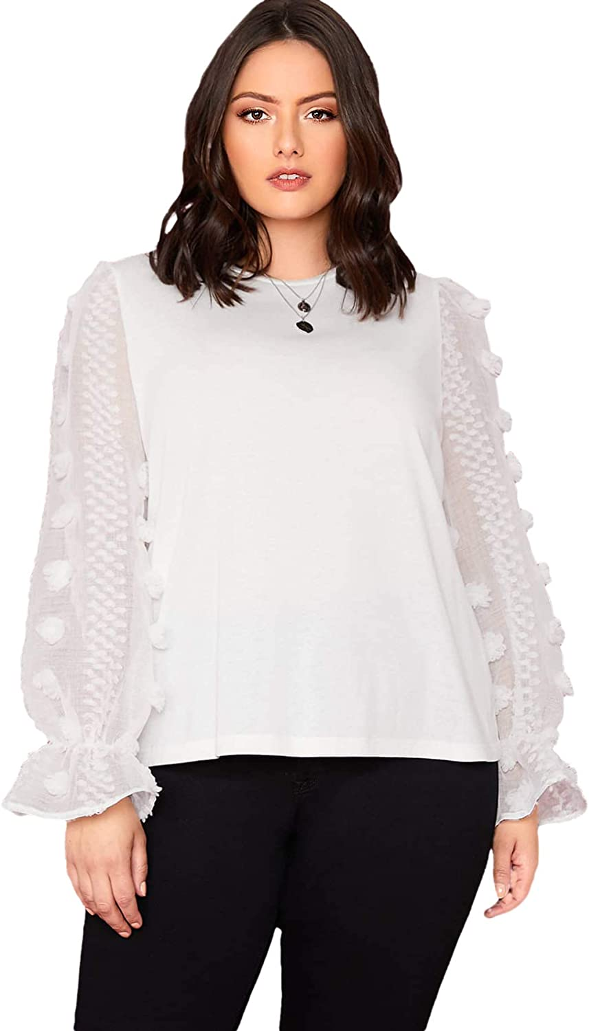 Romwe Women's Casaul Mesh Long Sleeve Round Neck Solid Blouse Top Tee