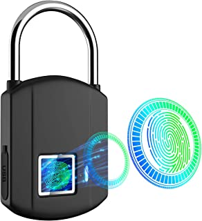 Fingerprint Padlock, IP65 Waterproof Smart Biometric Lock, Outdoor Keyless Digital Lock..