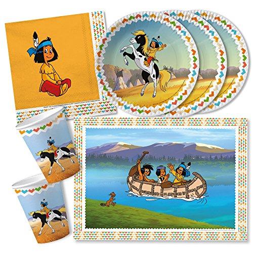 DH-Konzept 42-teiliges Party-Set - Indianer Yakari - Teller Becher Servietten Platzsets für 6 - 8 Kinder