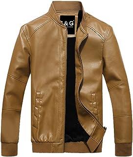 [リュハイ] メンズ 秋と冬 レザージャケット 大きなサイズ 長袖 立ち襟 防風 防寒 短いパラグラフ ジャケット