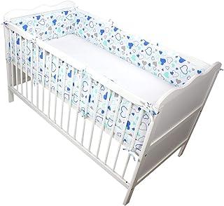 Tour de lit b/éb/é rembourr/é pour lit b/éb/é 100/% coton 120x60 Oeko-TEX Bleu