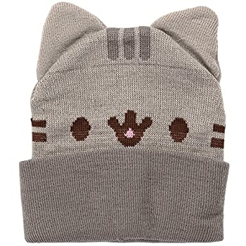 Isaac Morris Pusheen Smiling with Ears Adult Beanie Hat Brown