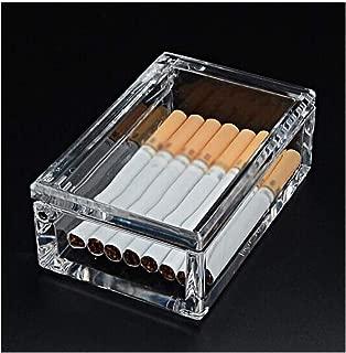 QinMei Zhou Cigarette Holder 20 Packs, Men's Cigarette Case, Transparent Portable Portable Light Cigarette Case (Color : Clear)