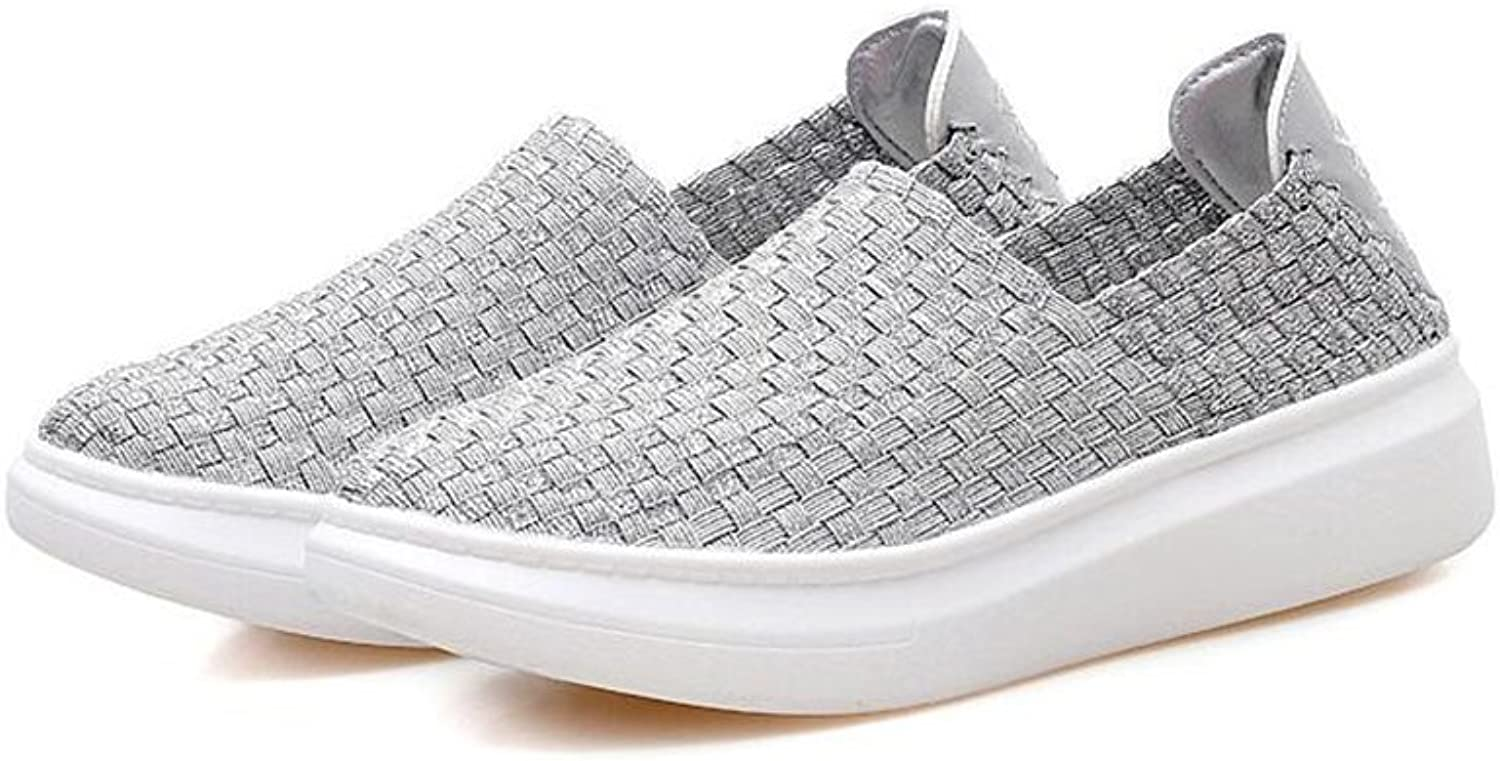 Stay real Women's Woven Stretch Mesh Loafers Fashion Sneakers Breathable Slip-on Walking shoes