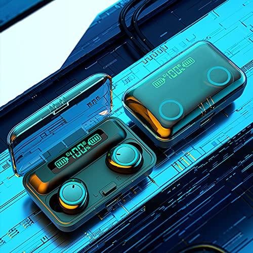 Bluetooth Kabellose In-Ear-Kopfhörer, Auto Pairing TWS Mikrofon Ohrhörer, LCD Bluetooth 5.1-Kopfhörer, Wasserdichter Sport Steuerung Ohrhörer mit Mikrofon, Headset kompatibel mit iOS Android(Hellblau)