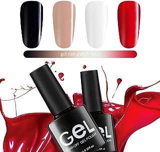 Gel Nail Polish Set,Soak Off UV LED Gel Polish Nail,Renstorm Red Nail Polish Lacquer Set DIY Nail Art Manicure Kit With 4Pcs
