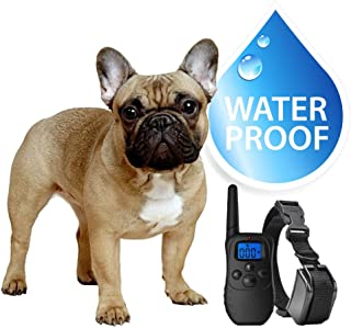 eXuby Small Dog Waterproof Shock Collar & Remote - Includes 2 Collars (Small & Medium) and Dog Training Clicker - 3 Modes (Sound, Vibration & Shock) - Rechargeable Batteries