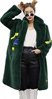 Surprise S Coats Women Loose Shine Smile Word Pattern Long Jacket Coats