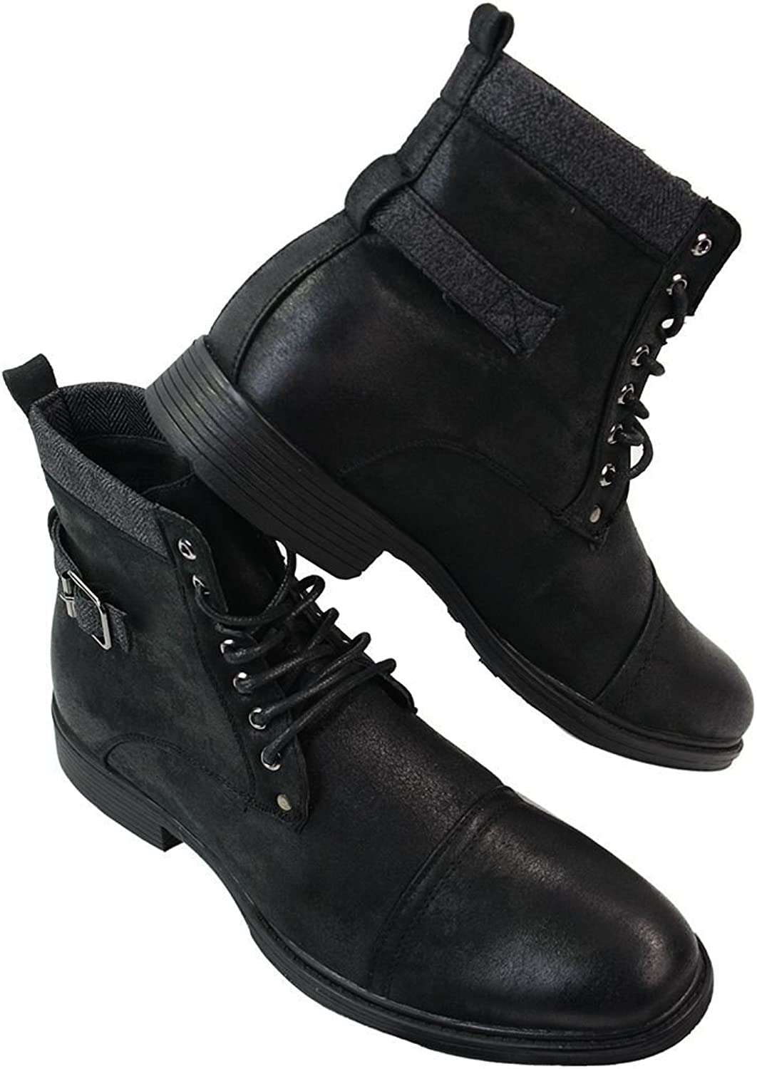 Glx herr svart bspringaaa Lace Up Up Up Ankle Army Punk Rock Casual stövlar Fleece läder  rabatt