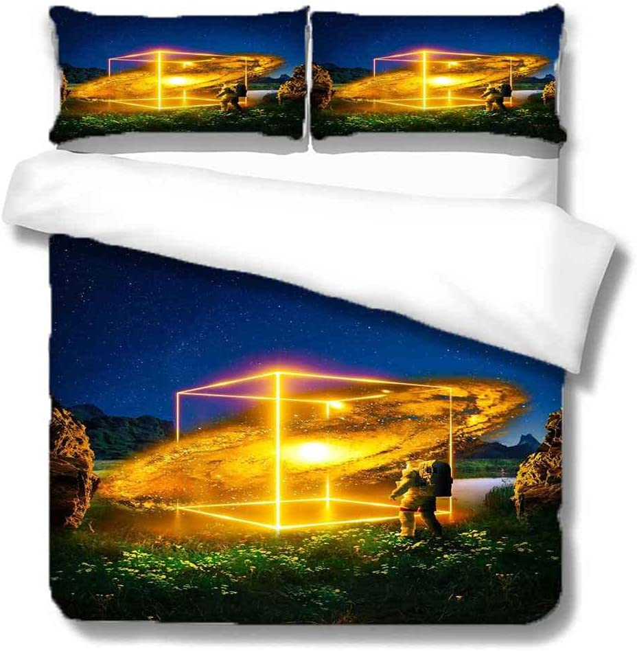 PYCXYI Bedding Sets Full Size Qui Max 54% OFF Planet Printed Creative In stock Golden