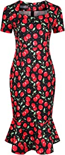 Cherry Vintage Style Pencil Wiggle Dress