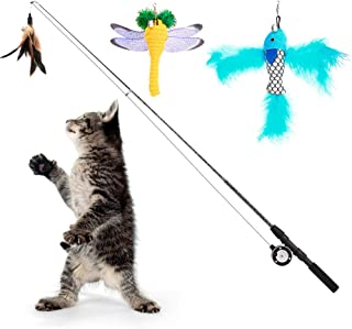 Pawaboo Cat Feather Teaser Wand Toy [4 Pack], Interactive Telescopic Rod Fishing Pole Wand Catcher Toy with Bells, Fun Cat Kitten Kitty Play Toy with Assorted Refills Fish/Dragonfly Worm/Feather