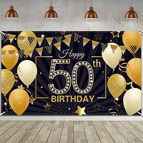 Telón de Fondo de Happy 50th Birthday Banner de Signo de Te