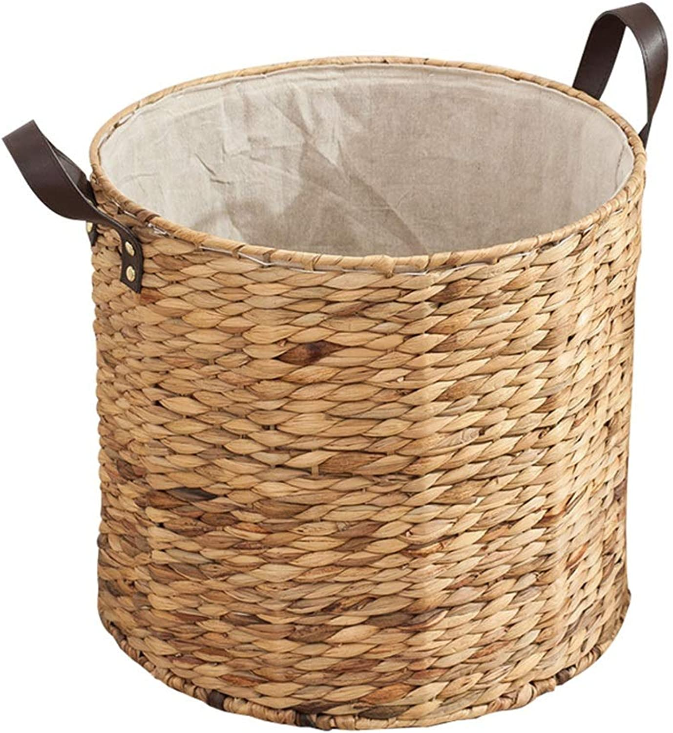 ZHANGQIANG Storage Basket Laundry Basket Laundry Basket Large Standing Convenient Rectangular, Dirty Clothes Rack Storage Basket, Waterproof Inner Ash (color   Wood color, Size   Medium)