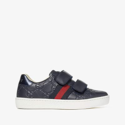 Gucci Kids New Ace V.L. Sneakers (Little Kid) (Midnight Blue/Bord) Kids Shoes