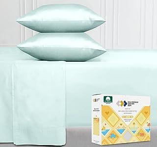 400 Thread Count 100% Cotton Sheet Set, Seafoam King Sheets 4 Piece Set, Long-staple Combed Pure Natural Cotton Bedsheets,...