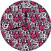 壁掛け時計10in イチゴの花と葉のアイコンフルーティーな花の繰り返し静音 連続秒針 電池式 寝室 部屋装飾 オフィス 丸形 時計レトロ柱時計,デジタル 柱時計