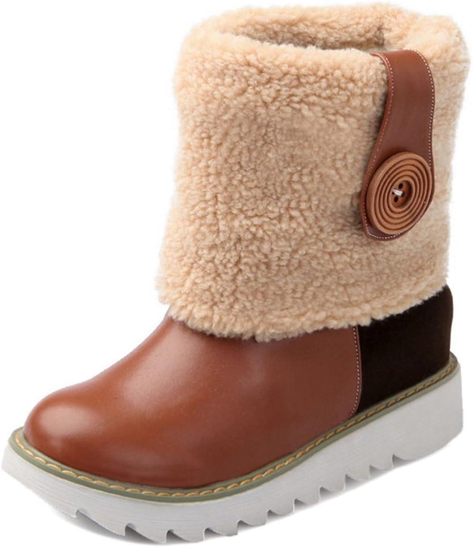 TAOFFEN Women's Snow Boots Collar Cuff