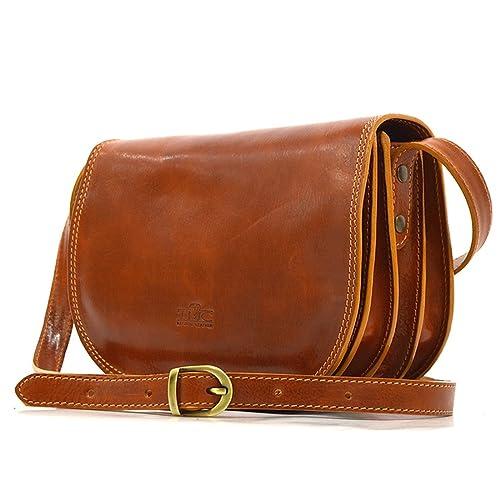 7697c1a88ca9 Genuine Italian Leather Classic Saddle Bag Style