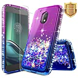 Moto G4 Play/Moto G Play Case w/[Tempered Glass Screen Protector], NageBee Glitter Liquid Quicksand Waterfall Flowing Sparkle Shiny Diamond Girls Cute Case for Moto G Play 4th Gen -Purple/Blue