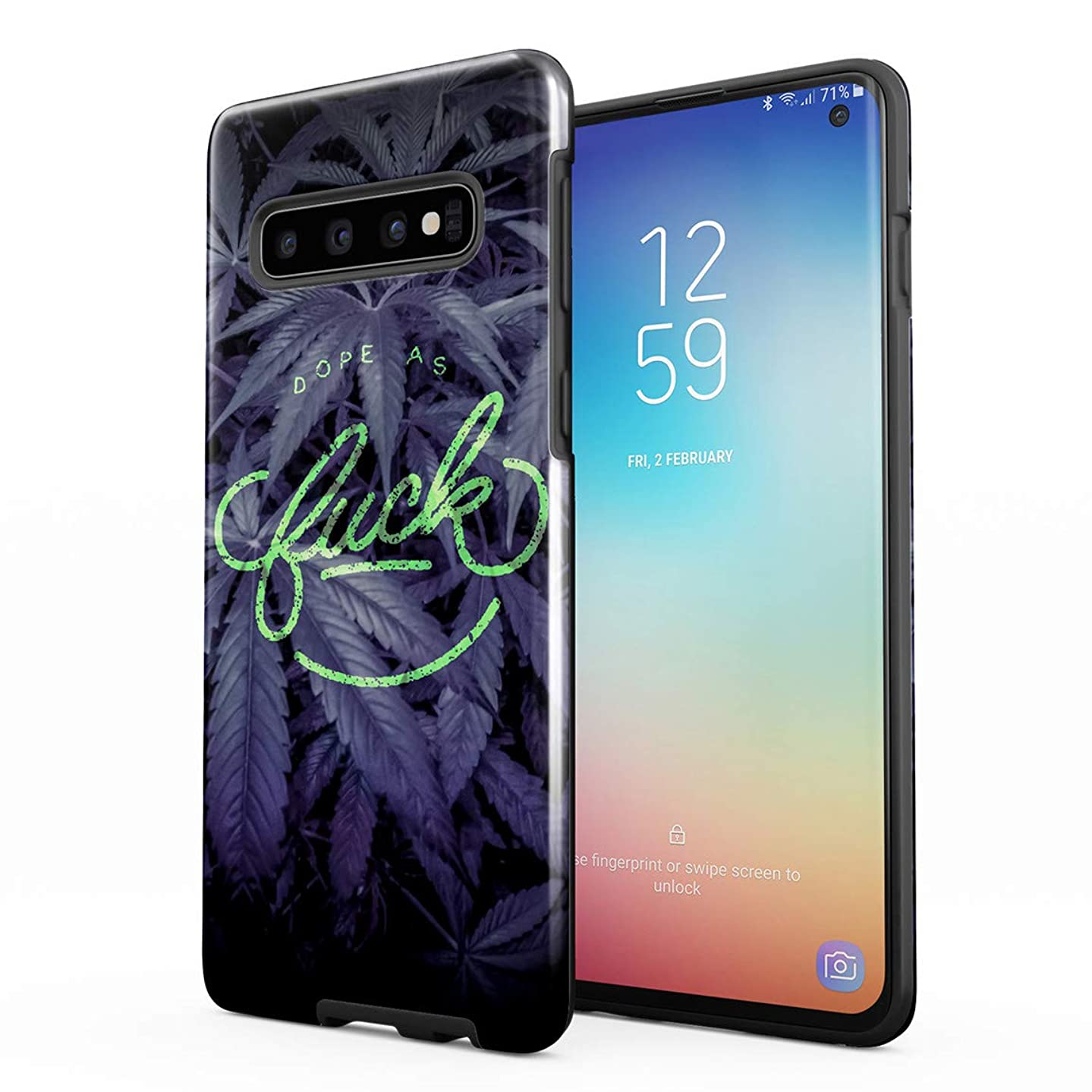 Dope As Fuck Cannabis Leaves Hard Plastic Shell & TPU Bumper Double Layer Tough Phone Case for Samsung Galaxy S10