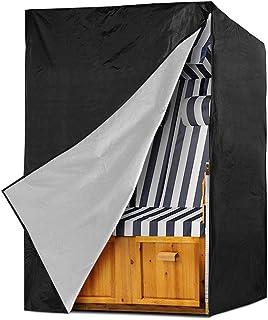Funda Protectora para Sillón de Playa, Cubierta Sillón de Playa de 210D Oxford, Funda Impermeable Cubierta para Silla de Playa de Mimbre, Protección UV Transpirable - 135 x 105 x 175/140 cm (Negro)
