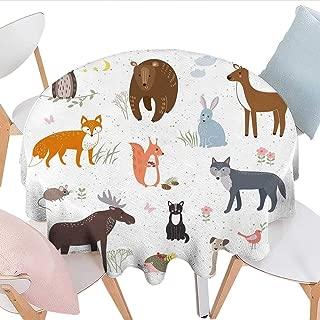 longbuyer Cabin Decor Round Vinyl Tablecloth Cute Animals in Spring Meadow Childish Woodland Fauna Kids Baby Room Nursery Farmhouse Tablecloth 54