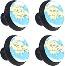 Jamaican Drawer Knob Pull Handle, Map of Jamaica Kingston Caribbean Sea Important Locations in Country 4 Pcs Cabinet Cupboard Knobs for Kitchen Home Office Cabinet Cupboard