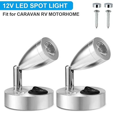 SUPAREE 12V LED Spot Lampe de Lecture Interrupteur Réglable Lumière Chaude pour Camping Car Van Bateau LED Lumière Intérieure (2 PCS) (A-on/Off Switch)
