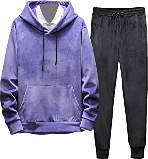 EnergyMen Plus Velvet Hooded Solid 2 Piece Athletic Sweatsuit Set