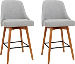 Artiss 2 x Bar Stools, 65cm Seat Height Fabric Upholstery Kitchen Counter Stools, Swivel Wooden Bar Chairs for Home Kitche...