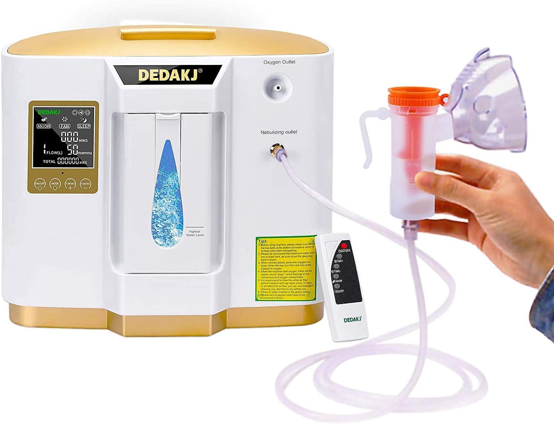 Concentrador de oxígeno, 90% Alta Pureza 1-7L / min Generador de oxígeno de flujo O2 Hogar inteligente LED portátil con control remoto para uso doméstico y de viaje en automóvil, DE-1L