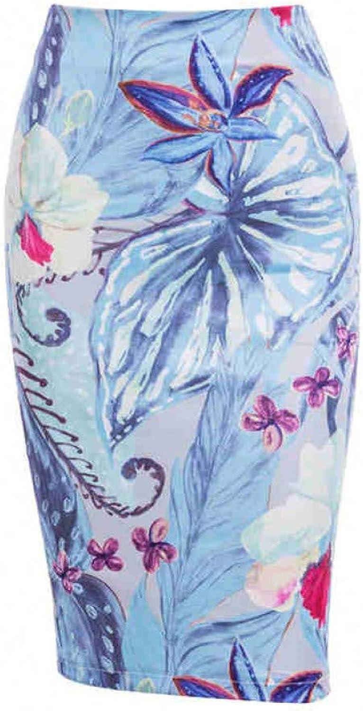 FSDFASS Skirt High Street Women Floral Printed Pencil Skirt Stretch High Waist Midi Skirt