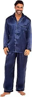 Men's Button Down Satin Pajama Set with Sleep Mask, Long Silky Pjs
