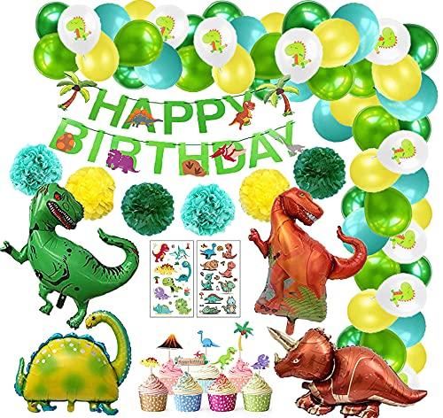 Juego de decoraciones cumpleaños dinosaurio, decoración de cumpleaños para niños Dino, globos papel dinosaurio, pompones papel, adorno para tarta guirnalda feliz cumpleaños para fiesta en la jungla