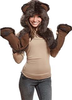 71f30780a1b Brown Bear Full Animal Hood Hoodie Hat Faux Fur 3 in 1 Function