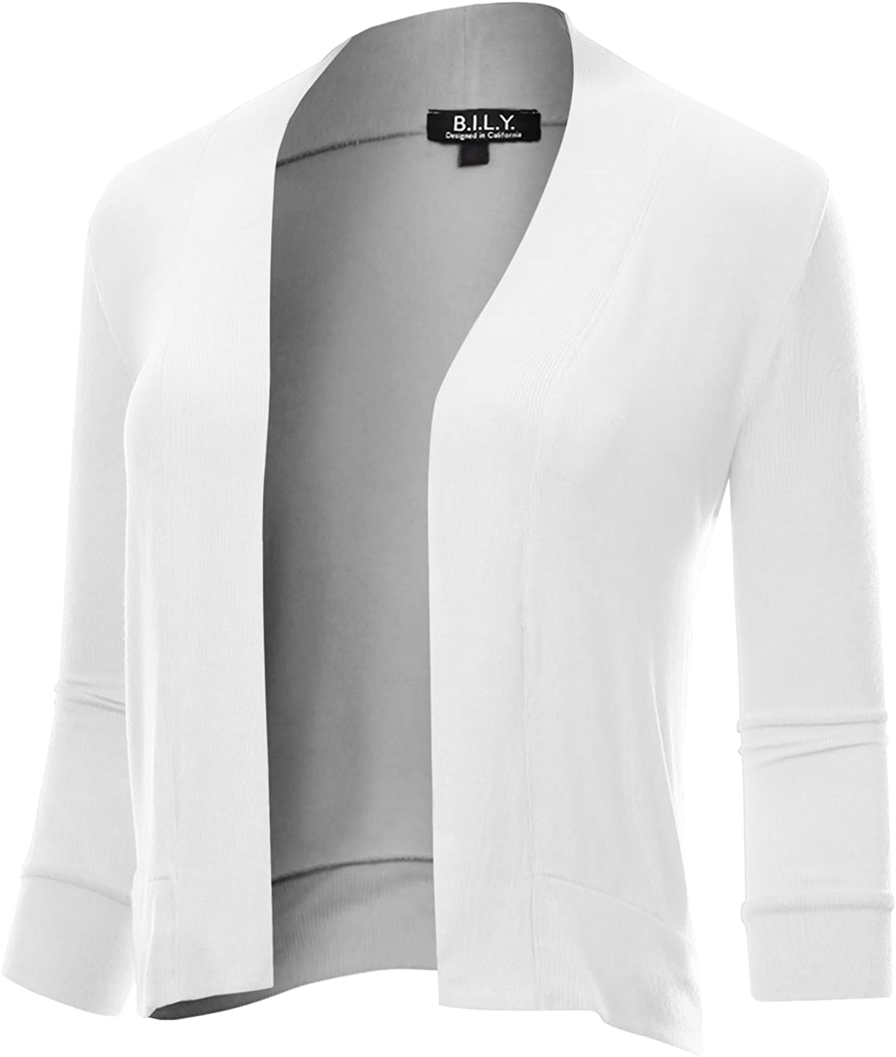 BH B.I.L.Y USA Women's Classic Open Front Cropped 3 4 Sleeve Cardigan White XXXLarge