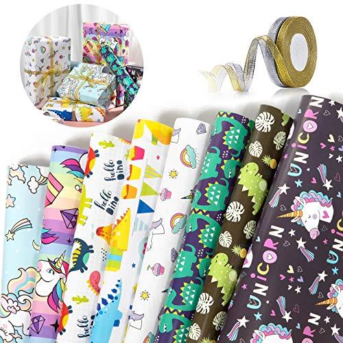 ZWOOS Papel Regalo 8 Diseño Papel Para Envolver Regalos Hojas Papel de Envoltura De Regalocon con 2 Rollo de Cinta para Niños Cumpleaños, Despedidas de Soltera, Baby shower, Navidad y Más 70 x 50cm