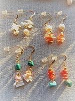 Mermaid jewelry 珊瑚 デザインピアス(コーラル4デザイン)14kgfピアス オリジナル ハンドメイドアクセサリー (ターコイズ (トルコ石))