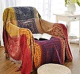 Sofaüberwurf, Möbelschutzdecke aus Chenille-Jacquard mit Fransen, mediterraner Stil, Decke für alle Jahreszeiten, Red Purple, 150*190CM