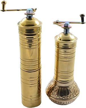 Manual Hand Grinder Mill SET for Turkish Greek Arabic Coffee Beans & Spice Pepper Salt, Brass (Daddy & Mommy)