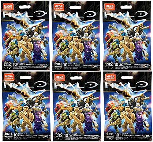Halo Mega Construx Micro Action Figures Series - 10 Year Anniversary - CNC84 Blind Bag (Bundle of 6)